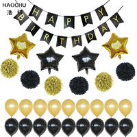 HAOCHU 29pcs 18 Inch Gold Star Helium Balloon Tissue Pom Poms For Baptism Birthday Shower Party