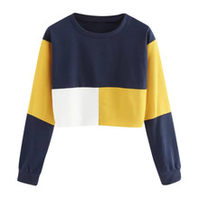 Color Patchwork Sweatshirt Short Pullover round neck Women's shirt Casual Long Sleeve Tops Blouse busos para mujer