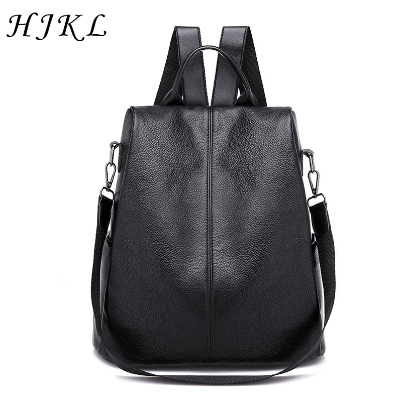 8638799c6d HJKL PU Leather Backpacks Solid Hidden Zipper Shoulder Bags Large Capacity  School Bag Anti Theft Backpack Bag for Women 2019-in Backpacks from Luggage  ...