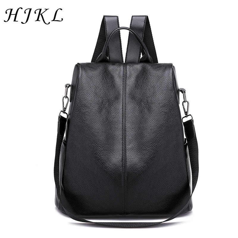 67d39aa9e HJKL PU Leather Backpacks Solid Hidden Zipper Shoulder Bags Large Capacity School  Bag Anti Theft Backpack