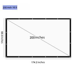 Проекционный экран 200 дюймов 16:9, складной наружный кинопроектор с сумкой для домашнего кинотеатра, ТВ, мультимедийных развлечений