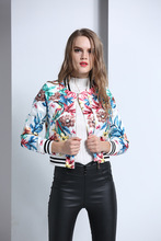 2017 Spring fashion woman printing  jackets baseball uniform long sleeve short coat