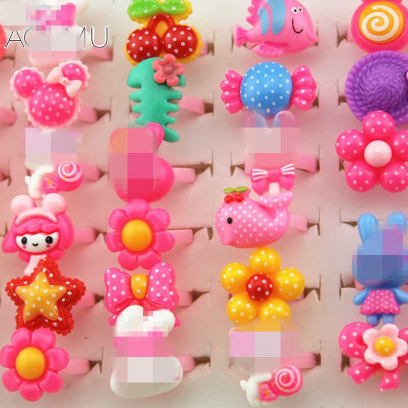 AOMU 10 adet bebek kız karışık stilleri hayvan sebze ve meyve güzel şeker renk hayvanlar çiçek karikatür çocuklar/çocuk yüzük