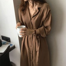 2019 Ladies Commute Casual Shirt Dress Summer Autumn Notched Collar Long Sleeve Sashed Single Breasted Solid Women Dresses CC132