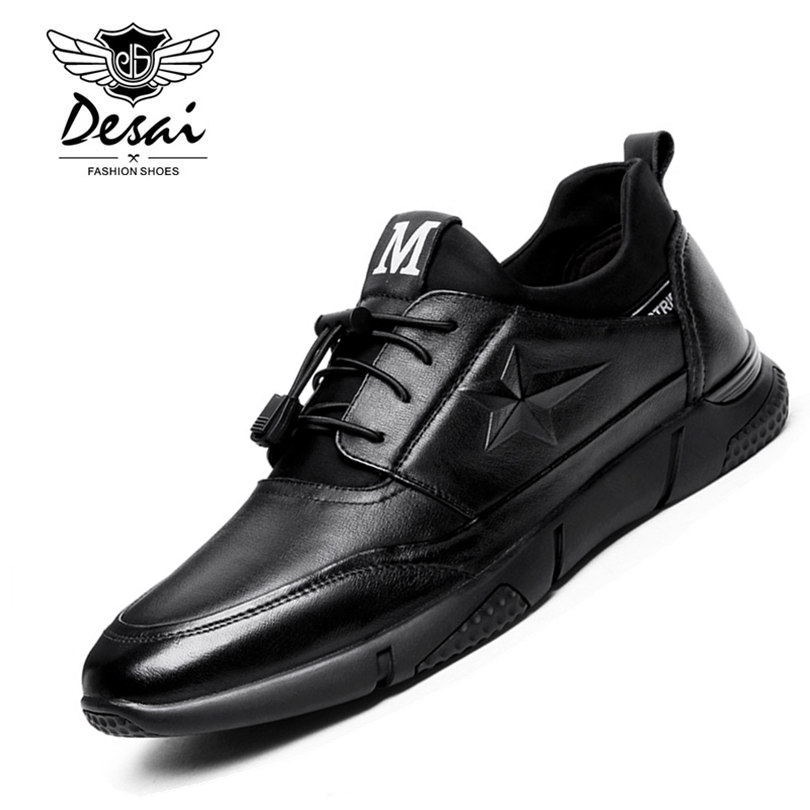 DESAI Brand Men Casual Shoes 2017 New Autumn Genuine Leather Men Shoes High Quality Comfortable Black Leather Men Zapatos Hombre new fashion men luxury brand casual shoes men non slip breathable genuine leather casual shoes ankle boots zapatos hombre 3s88