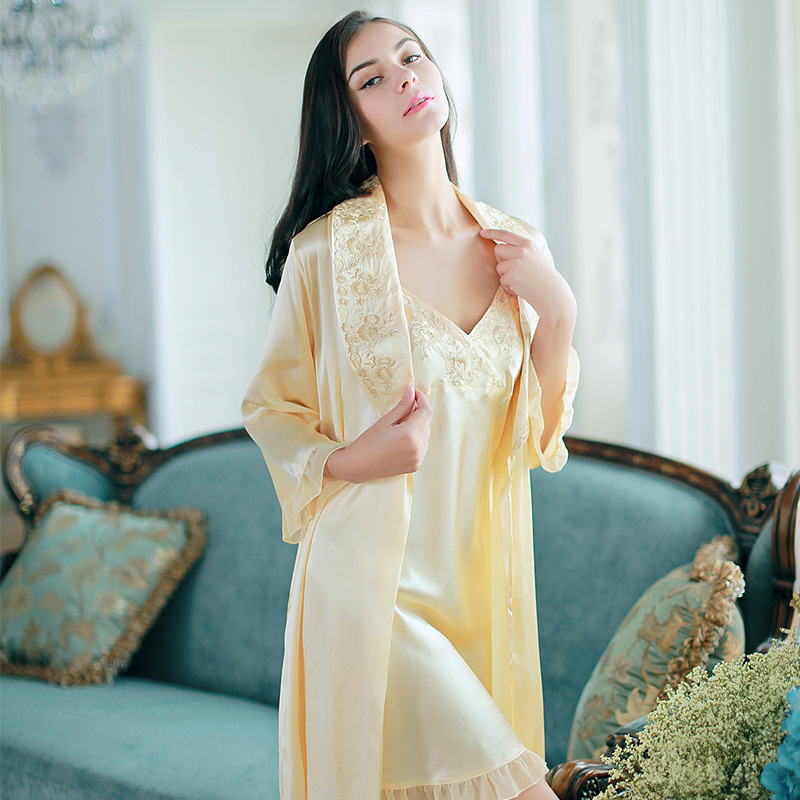 Silk Robe Set Women Nightgown Long-Sleeve 2 Pcs Nightdress Ladies 100% Real Silk Sleepwear Solid Embroidery sexy charming Dress