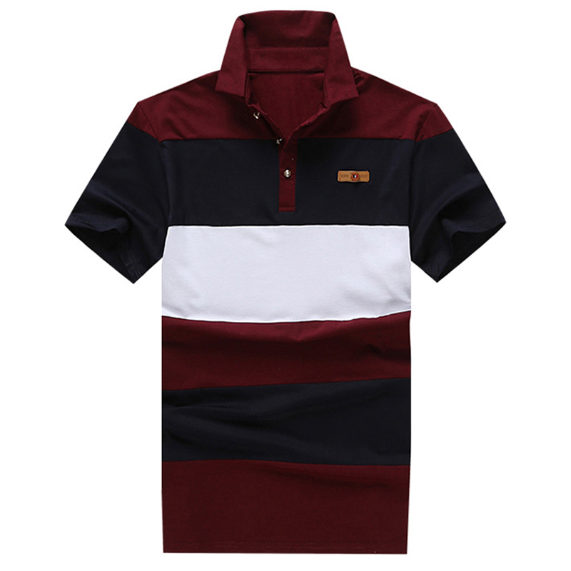 Polo men shirts cotton striped mens polo short sleeve for Mens short sleeve patterned shirts