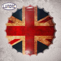 Round UK Flag Round Bottle Cap Vintage Tin Sign Wall Decor Retro Metal Art Poster Restaurant