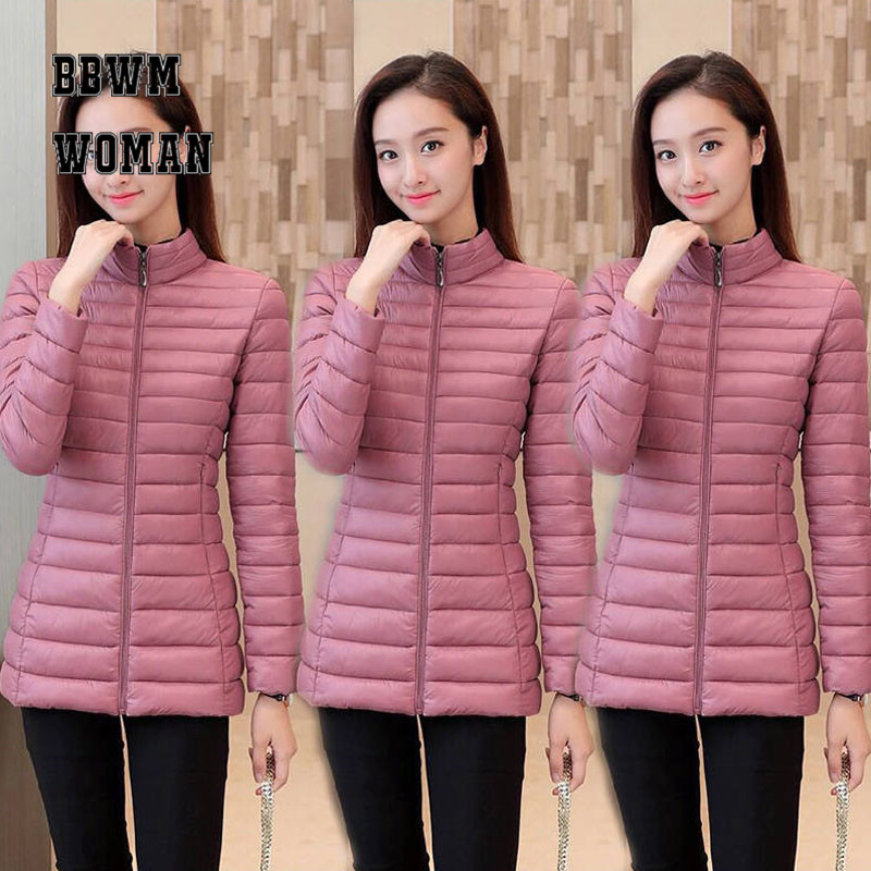 Warm Lightweight Women Coat Slim Korean Black Pink Burgundy 5 Color Can Choose Plus Size M-4XL SIze Female   Parkas   ZO1778