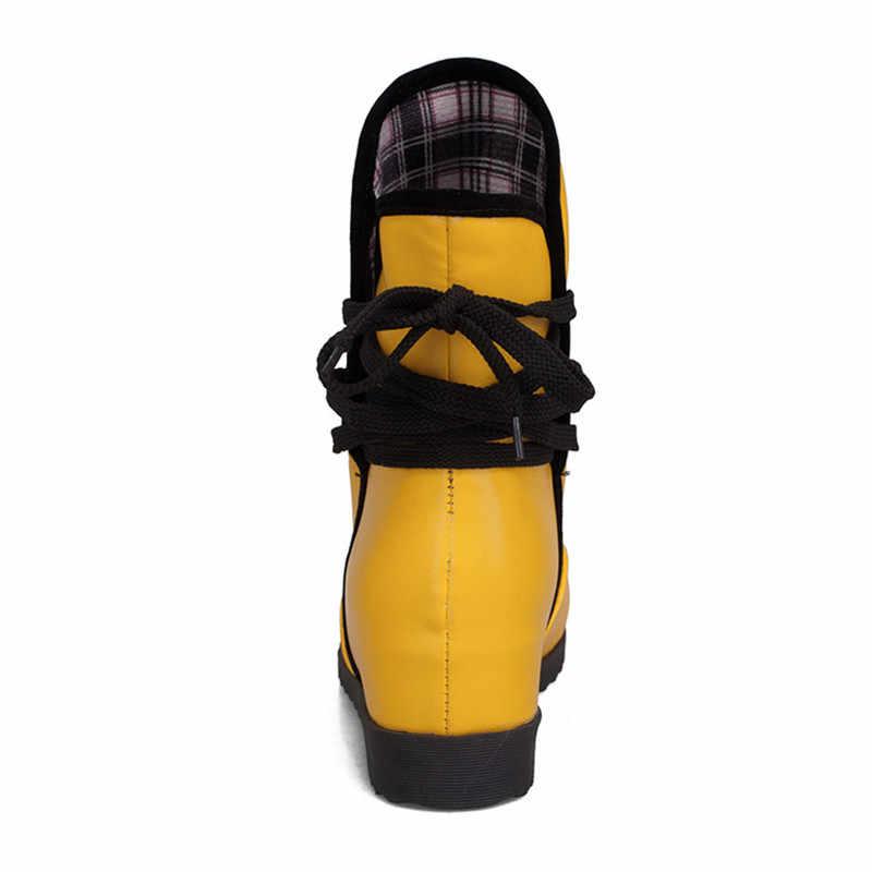 Kadın Botları Sonbahar Kış sıcak Seksi Moda Pu bağcıklı martin bilekli çizme Siyah Beyaz Kırmızı Sarı Su Geçirmez Yüksek Ayakkabı