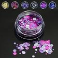 1g Mini Round Thin Paillette Design 3D DIY Nail Glitter Powder Dust  Beauty Accessories Nail Art Bottle Tip Set P15-21
