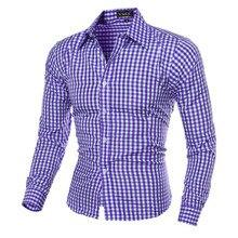 ec30cd68691 Летние Особенности решетки хлопковые дышащие Рубашки для мальчиков Для  мужчин Мода Многоцветный синяя рубашка красного цвета