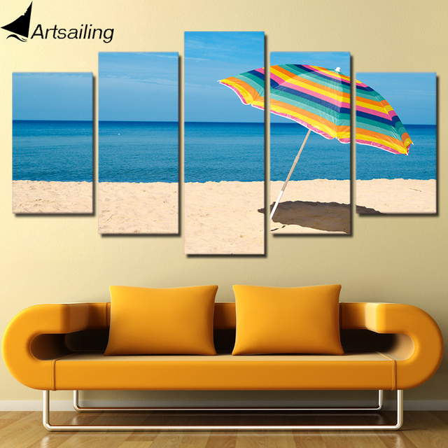 HD Printed 5 Piece Canvas Art Beach Painting Framed Sea Poster Wall ...