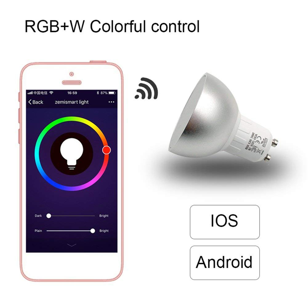Smart Bulb WiFi GU10 RGBW 5W Led Dimmable Compatible with Alexa & Google Home Remote Contr
