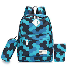 RUIPAI 3Pcs / sets Girls Casual Backpack Ladies Elegant Shoulder Bag Middle School Students Light Pack Women Computer Package