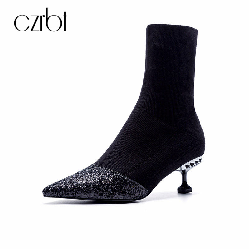 CZRBT Spring/Autumn Fashion Sequined Cloth Women Boots High Heels 4.5cm Comfortable Luscious Zipper Fashion Ladies Shoes