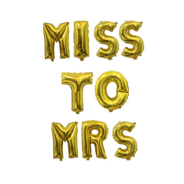 miss to mrs balloons bridal shower banner gold silver letters foil balloon bride groom wedding shower