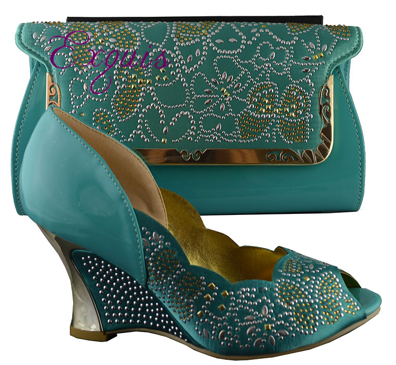 ФОТО Free Shipping By DHL!!!!2015 New arrival Ladies fashion african shoes and matching bagsB8021 water green size 38-42