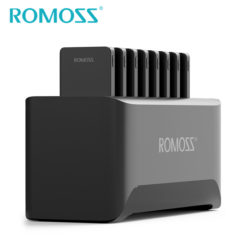 New ROMOSS Powerful Charger Station for Family and Business 8PCS 10000mAh Power Bank + 8PCS 2 in 1 Charging Cables + Ship by UPS-in Power Bank from Cellphones & Telecommunications    3