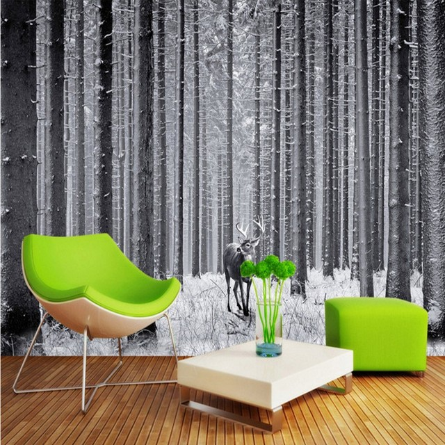 Fototapete Schwarz weiß wald art TV hintergrund wand malerei ...