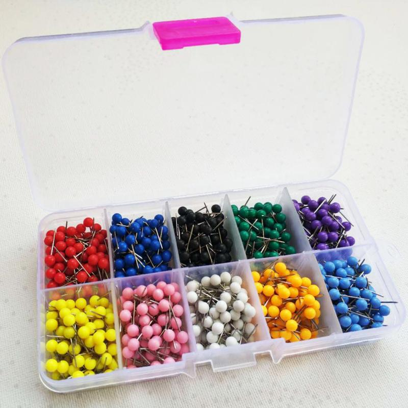 500PCS/Box Colorful Push Pins For Map Multi-color Round Head Map Tacks For Corkboard Bulletin Board And Fabric Making