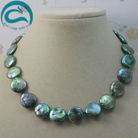Unique Pearls Jewellery Store Green Coin Natural Freshwater Pearl Necklace AA 13 14MM Natural Pearl Woman