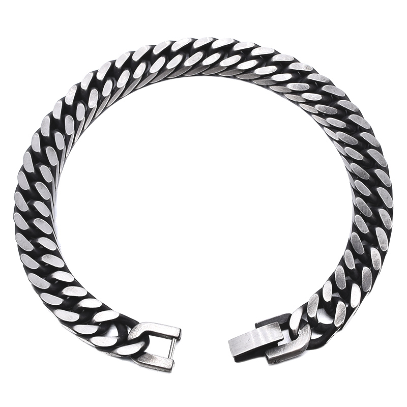GOKADIMA 18 New Style Antique Finished Stainless Steel Chain Bracelet Men Jewelry Party Christmas Gift 10