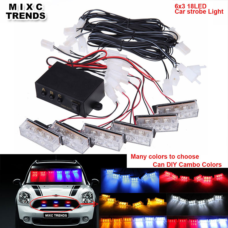 MIXC TRENDS 6x3 Led Car Emergency Warning Strobe Lights DC 12V RED BLUE Flashing Firemen Police Truck Light With Amber White