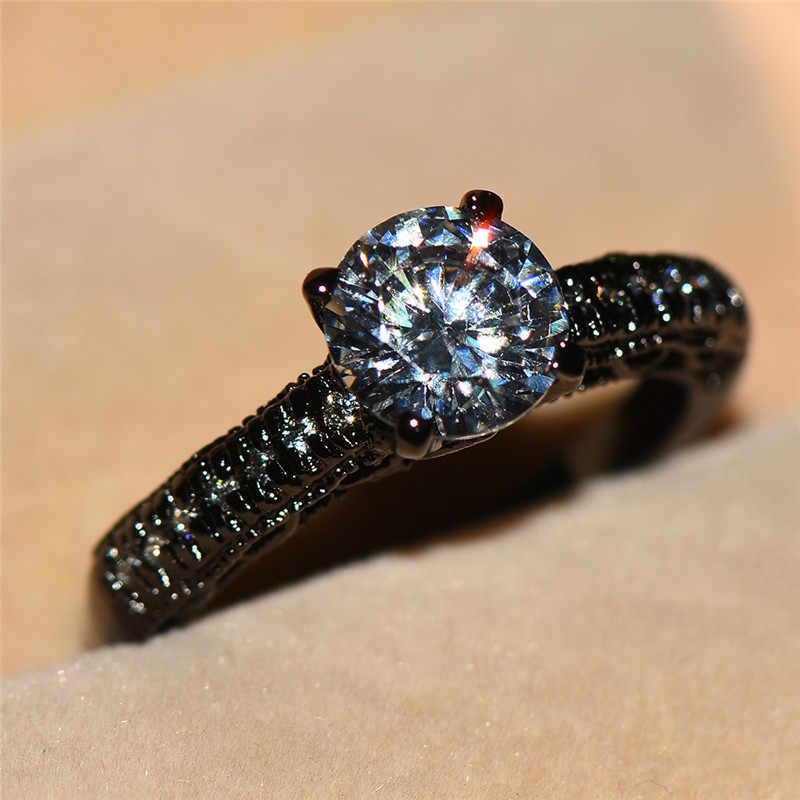 สไตล์เรียบง่ายชายหญิงแหวนหินคริสตัล Vintage Black Gold Filled เครื่องประดับชุดแต่งงานสำหรับบุรุษและสตรี