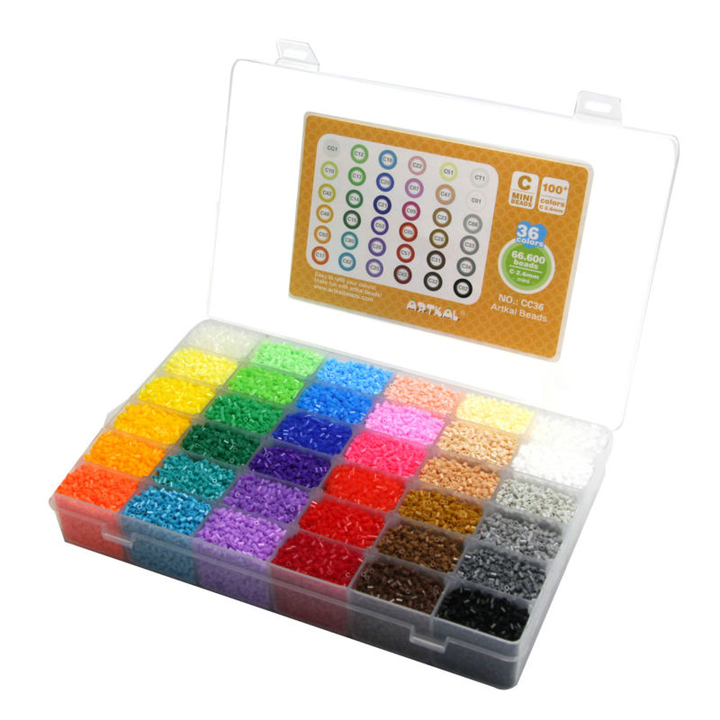 Artkal Mini Beads 36 Color Box Set Funny Food Grade EVA Educational Toys Diy Hama Beads Handmade Gift CC36  eva 1 lot 2 pcs hama fuse perler beads 2 6mm big square pegboards connecting pegoard mini hama beads jigsaw puzzle handmade diy