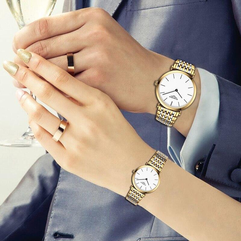 Muhsein watch female male table ultra-thin waterproof steel ladies watch lovers watch male quartz watch shopping