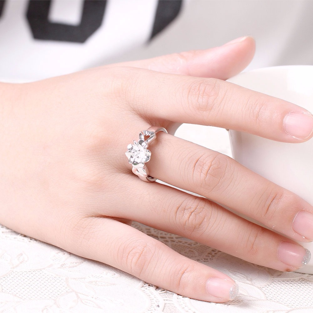 Aesthetic Exquisite Flower with Double Heart Ring Silver Plated ...