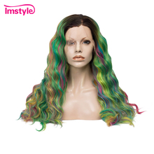 hot deal buy imstyle synthetic lace front wigs colorful rainbow green wigs curly wigs for women heat resistant fiber color hair cosplay