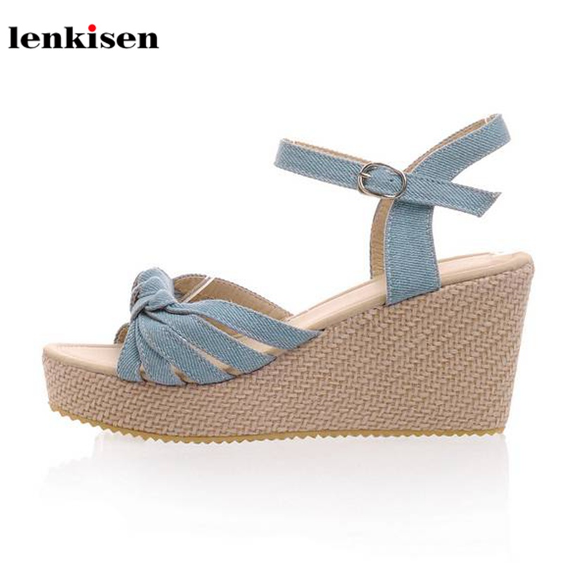 Lenkisen 2018 PU popular ankle strap solid causal young lady summer shoes wedges high heels platform shopping women sandals L58