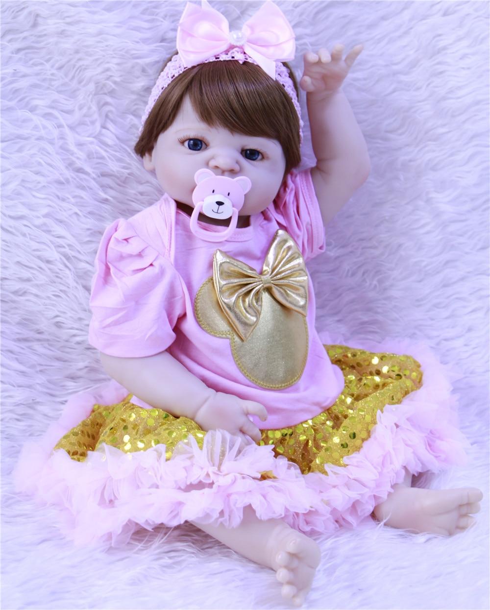 57 cm bebe reborn poupée silicone reborn reborn bébé poupées lol poupée brinquedos boneca reborn cadeau de noel pour filles dollmai - 2