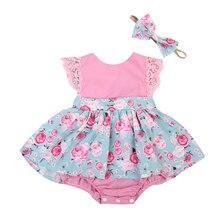 Кружевной Комбинезон для маленьких девочек; милая летняя одежда без рукавов; вечерние детские топы для маленьких девочек; комплект одежды принцессы с цветочным рисунком