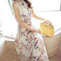 2017 Summer Women Bohemia Floral Print Dress Stand Collar Sleeveless Chiffon Long Beach Dress Vestidos Plus Size E594