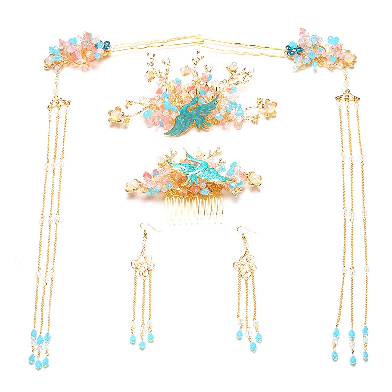 Traditional Chinese Bride Headdress Costume Hairclips Floral Hairpin Wedding Phoenix Hairwear Photography Hair Stick Accessory han guang traditional chinese wedding bride hair tiaras for xiuhefu hair accessory set for costume