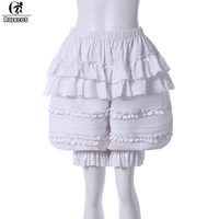ROLECOS New Arrival Japanese Women Lolita Pumpkin Shorts Safety Pants Ruffles Pumpkin Bubble Bloomer Plus Size Safety Petticoat