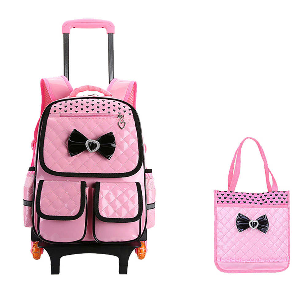купить Trolley School Bag for Girls with 3 Wheels Backpack Children Travel Bag Rolling Luggage Schoolbag Kids Mochilas Bagpack handbag недорого