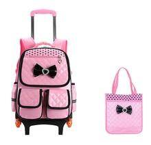 Trolley Schultasche für Mädchen mit 3 Rädern Rucksack Kinder Reisetasche Rollgepäck Schultasche Kinder Mochilas Rucksack handtasche