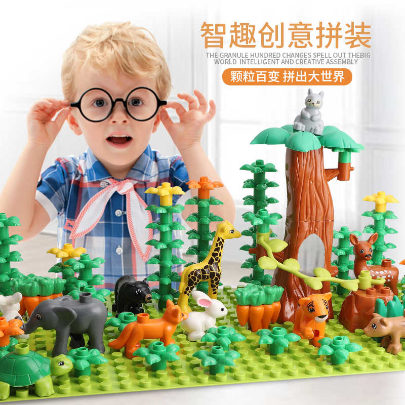 Gorock Animal Zoo Big Size Building Block Brick Set Dinosaur Elephant Model Figures Compatible With Duplo