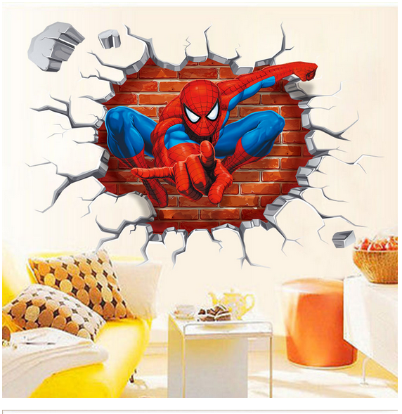 Hot Fashion 1 Pcs Spiderman 3D Stickers For Kids Home Decor On Wall Sticker Toy Sticker-001
