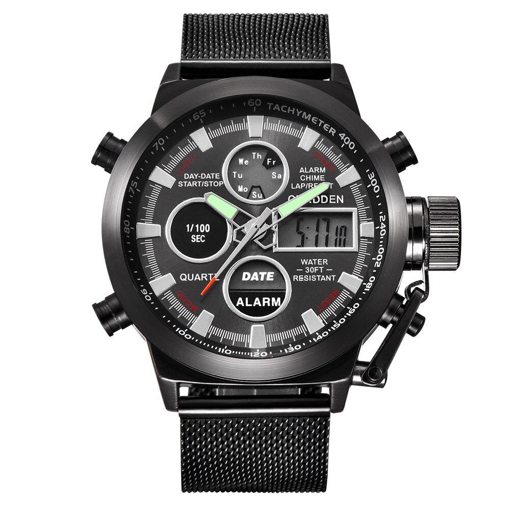 Men's Watch Wrist Dual Time LED Digital Analog Quartz Movt Steel Band  Nov.7 Reloj masculino dignity men watch tvg 801 male double movt quartz digital watch