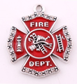 26mm*30mm 10pcs a lot antique silver plated zinc with sparkling crystals and enamel Firefighter Maltese Cross Pendant