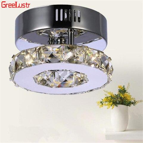 lampadas de teto cristal moderna led anel luzes do corredor lustre aco inoxidavel lampada do