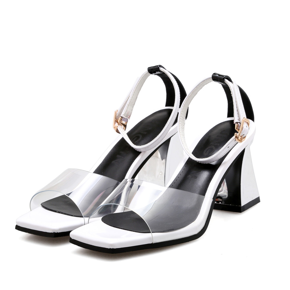 De Moda Tacón rojo Memunia Hebilla Rojo Gruesa Mujer Verano Alto Blanco Sandalias negro Elegante White Mujeres Señoras Boda Zapatos EEqf07x