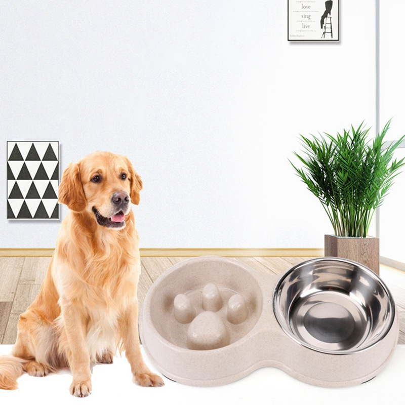 Pet Double Bowls Healthy Diet Stainless Steel Anti-chocking Slow Feeding Bowl And Water Bowl Prevent Obesity Food Bowls