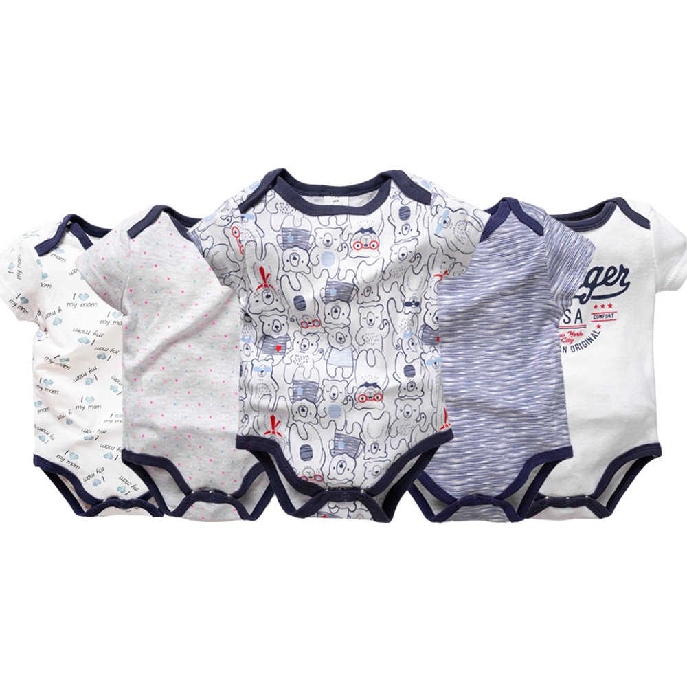 5PCS/LOT 2019 Summer New Short Sleeved Girls Baby Bodysuit Cotton Newborn Baby Boys Cartoon BodySuits Body Bebe