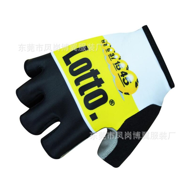 team lotto jumbo yellow Cycling gloves GEL shock absorption pro high quality summer half finger Bike gloves Size m-XL outdoor cycling half finger protective fiber gloves yellow black grey pair xl size